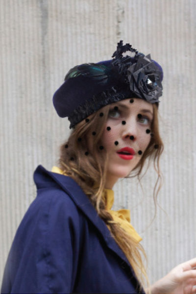 CATERINE Navi Blue Beret with veil- Ornella Gallo Di Fortuna