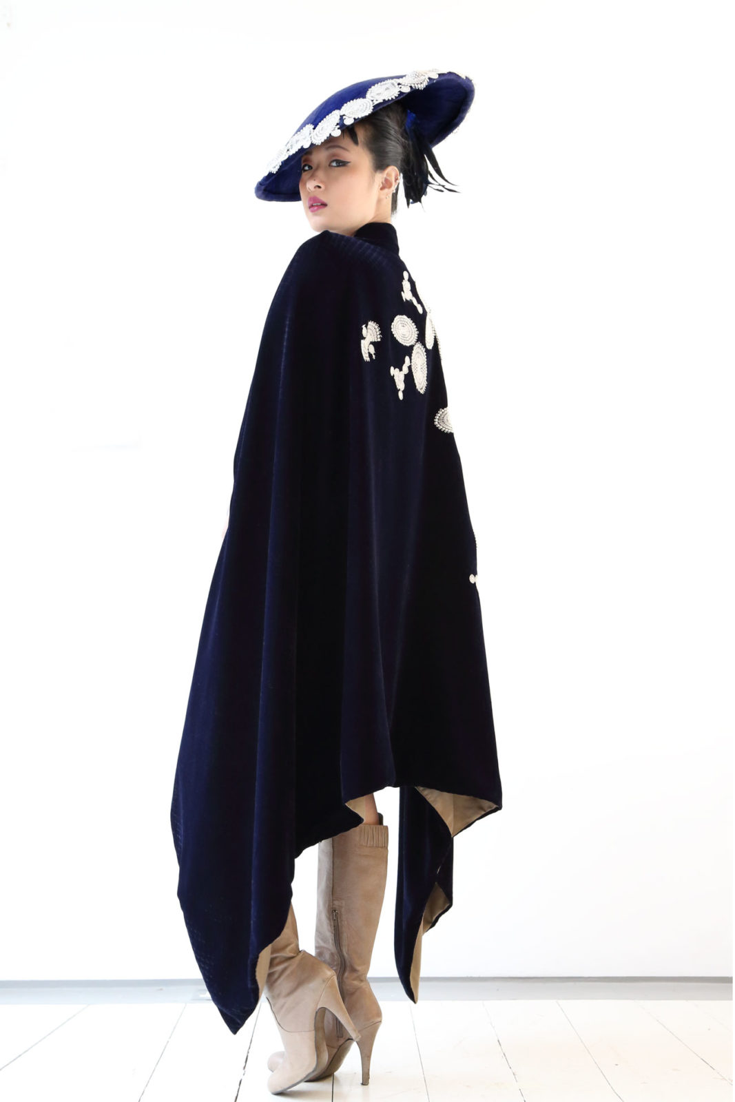 Navy Blue Velvet Cape, embellished with silver guipure