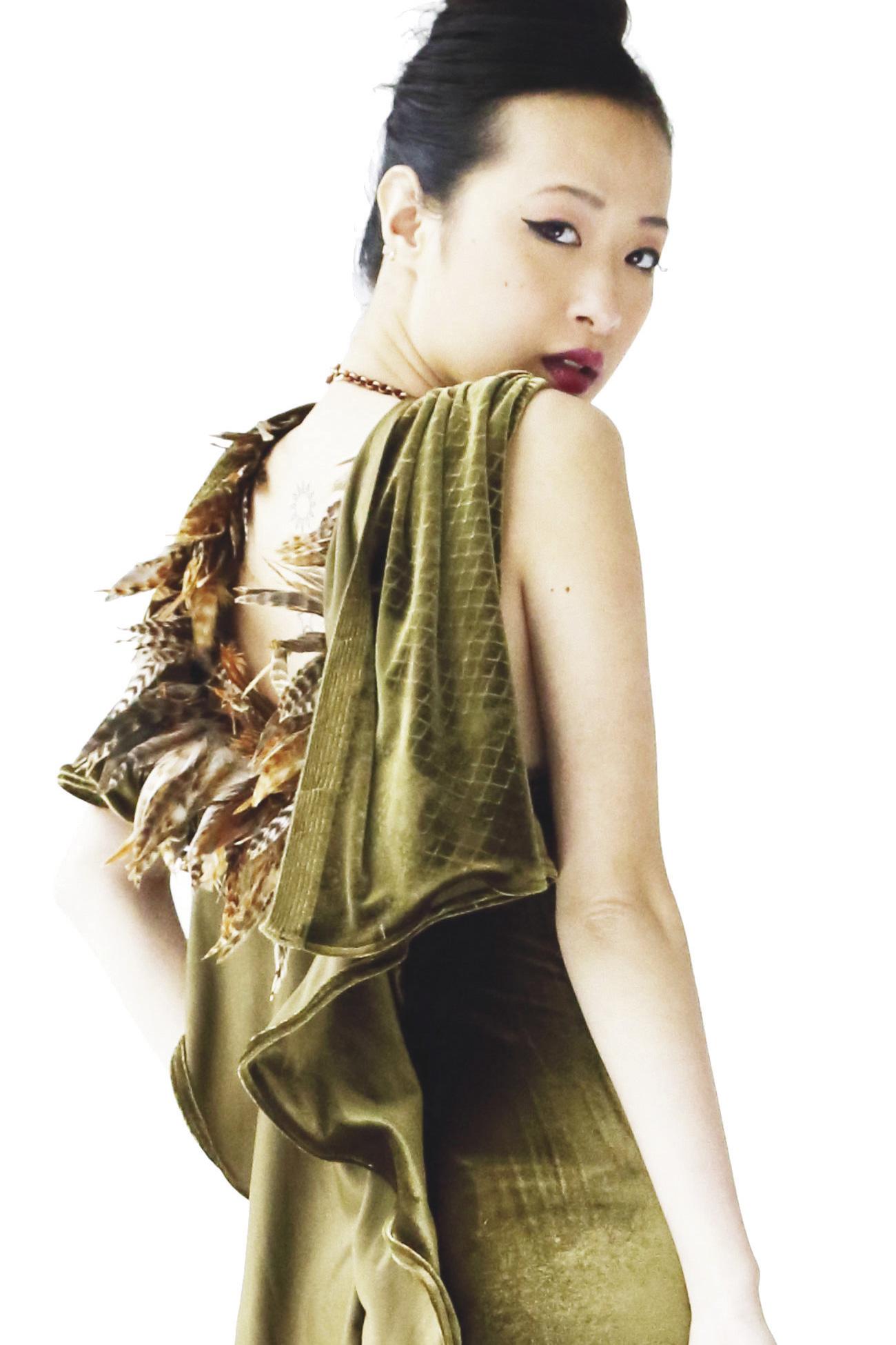 Green Velvet Dress Kohana- Ornella Gallo Di Fortuna bec8c5180