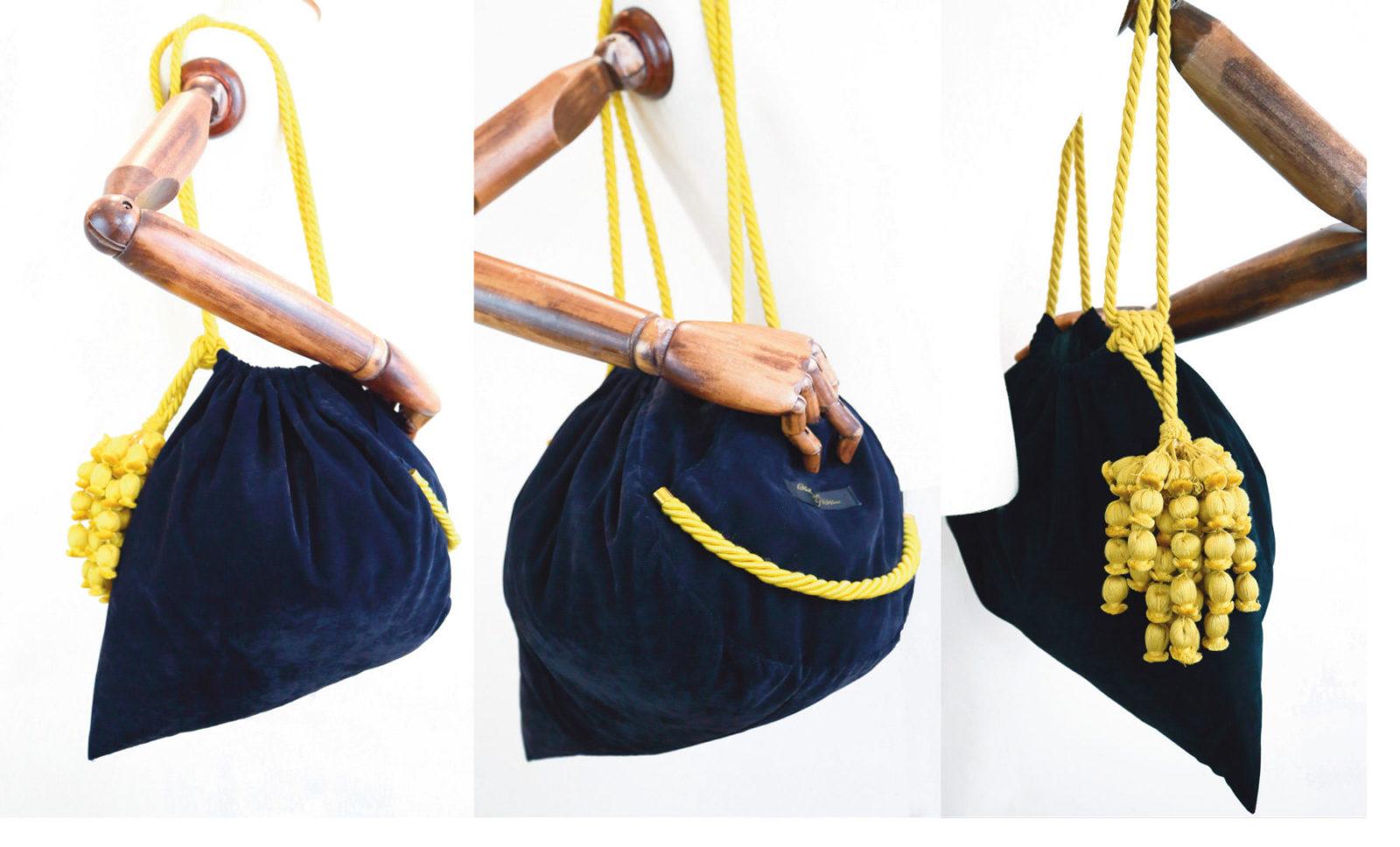 Ornella Gallo Di Fortuna Navy Blue Velvet handbag