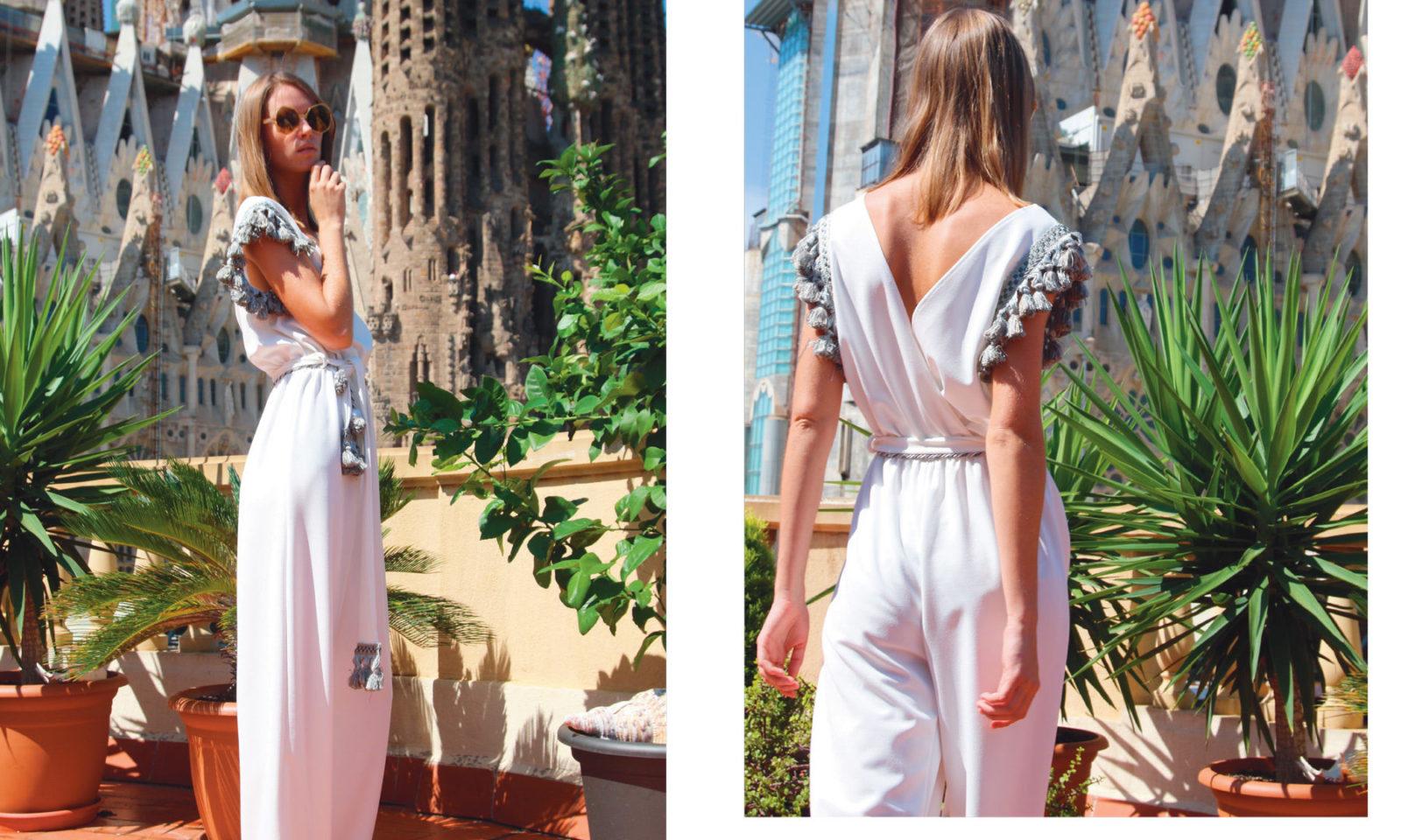 White Jumpsuit with pompons Ornella Gallo Di Fortuna