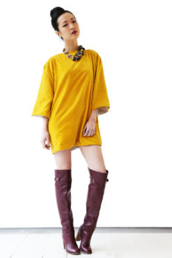 4a057b0c54 Yellow velvet and silk mini dress Yellow velvet and silk mini dress