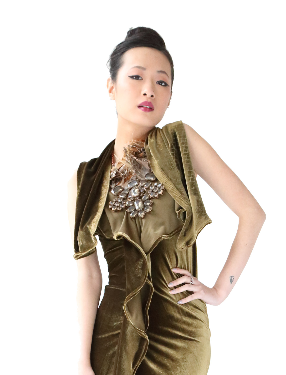 Olive Green Velvet Dress - Ornella Gallo Di Fortuna ce972e5fe