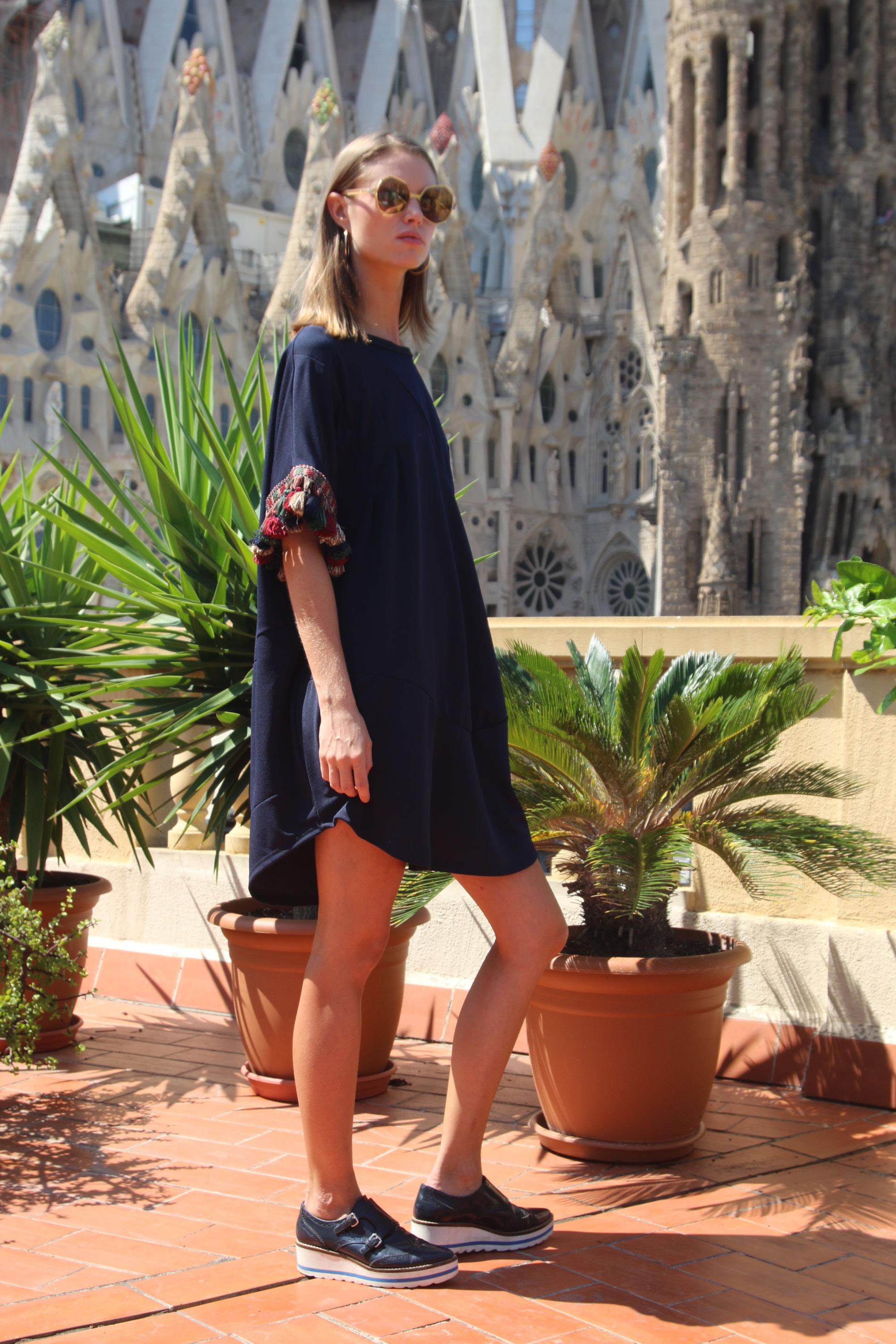 c04687dfe2c05 Navy Blue Mini Dress Pompons Ornella Gallo Di Fortuna